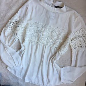 Express White Lace Inset Long Sleeve Blouse